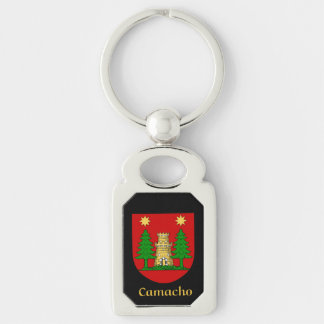 Camacho Historical Shield Silver-Colored Rectangular Metal Keychain