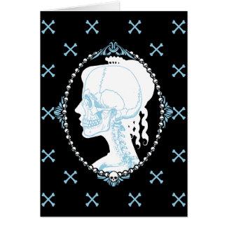 Camafeo azul bonito del cráneo felicitacion