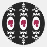 Camafeo barroco del damasco etiquetas redondas