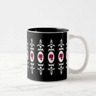 Camafeo barroco del damasco taza de dos tonos