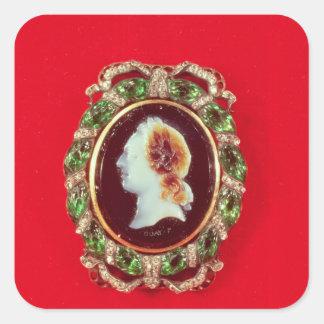 Camafeo de Louis XV de una pulsera llevada Calcomanías Cuadradass