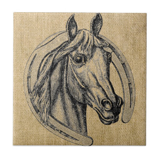 Camafeo del caballo en la arpillera azulejo cuadrado pequeño