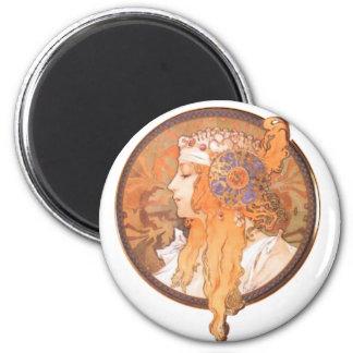 Camafeo del retrato del medalion de la cabeza de l imán redondo 5 cm