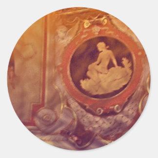 camafeo del vintage pegatina redonda