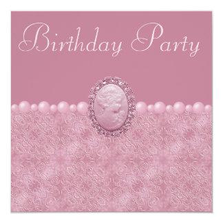 Camafeo del vintage y fiesta de cumpleaños rosados anuncio