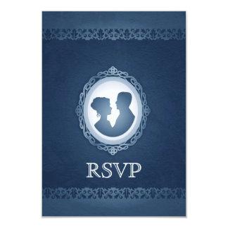 Camafeo gótico del Victorian azul que casa RSVP Comunicado