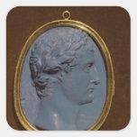 Camafeo que lleva el perfil de Tiberius Pegatina Cuadrada