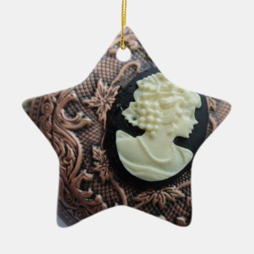Camafeo reciclado adorno de cerámica en forma de estrella