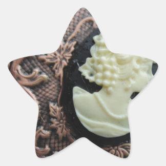 Camafeo reciclado calcomania forma de estrella personalizada