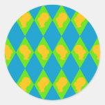 Camafeo retro del diamante de la colmena pegatina redonda