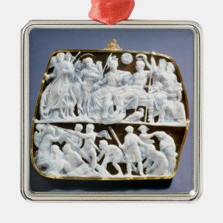 Camafeo romano del ónix, ANUNCIO del siglo I Adorno Cuadrado Plateado