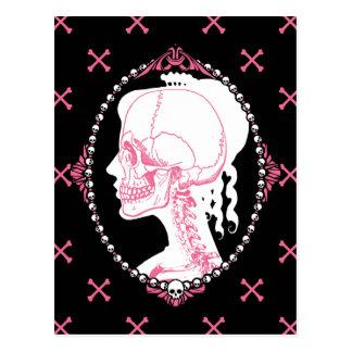 Camafeo rosado bonito del cráneo postales