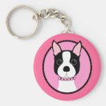 Camafeo rosado Boston Terrier Llavero Redondo Tipo Pin