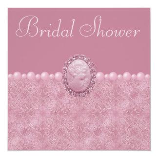 Camafeo rosado del vintage y ducha nupcial de las anuncios personalizados