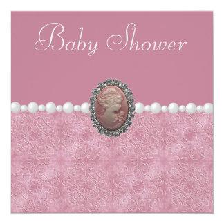 Camafeo y perlas rosados del vintage de la fiesta anuncios