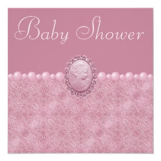 Camafeo y perlas rosados del vintage de la fiesta anuncios personalizados