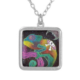 Camaleón colorido colgante cuadrado