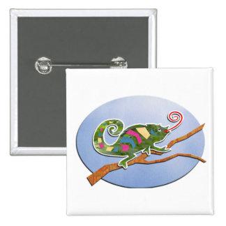Camaleón colorido pin cuadrada 5 cm