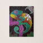 Camaleón colorido rompecabeza con fotos