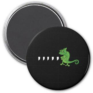 Camaleón de la coma imán redondo 7 cm