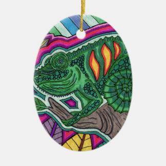 camaleón adorno ovalado de cerámica