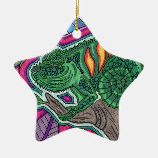 camaleón adorno de cerámica en forma de estrella