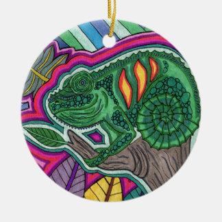 camaleón adorno redondo de cerámica