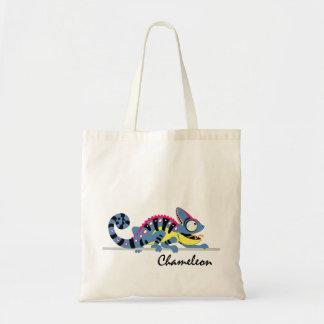 camaleón del dibujo animado bolsa tela barata