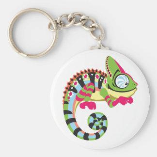 camaleón del dibujo animado llavero redondo tipo pin