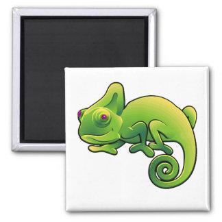 Camaleón observado púrpura de la verde lima imán cuadrado