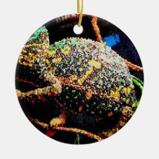 Camaleón velado vitral adorno redondo de cerámica