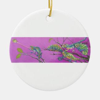 Camaleones, lagartos adorno navideño redondo de cerámica