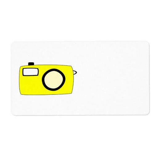 Cámara amarilla brillante. En blanco Etiquetas De Envío