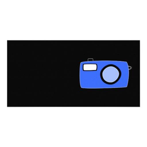 Cámara azul brillante. En negro Tarjeta Personal Con Foto