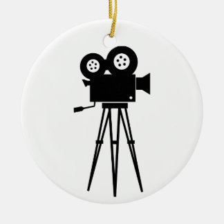 Cámara clásica de la película adorno navideño redondo de cerámica