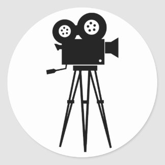 Cámara clásica de la película pegatina redonda