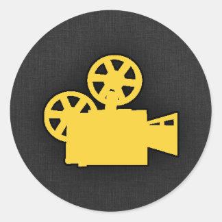 Cámara de película ambarina amarilla pegatina redonda