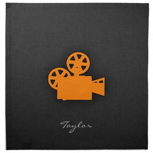 Cámara de película anaranjada servilletas imprimidas