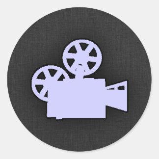 Cámara de película azul de la lavanda pegatina redonda