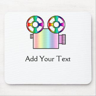 Cámara de película del arco iris en blanco tapetes de raton