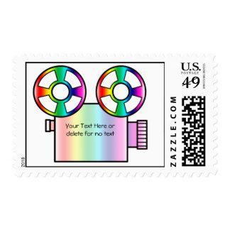 Cámara de película del arco iris en el fondo blanc