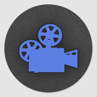 Cámara de película del azul real pegatina redonda