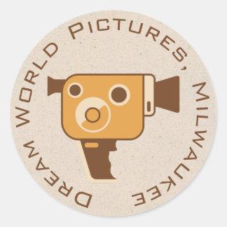 Cámara de película del cineasta personalizada pegatina redonda