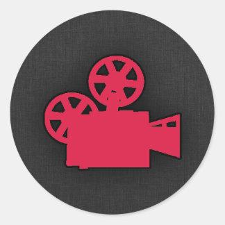 Cámara de película del rojo carmesí pegatina redonda