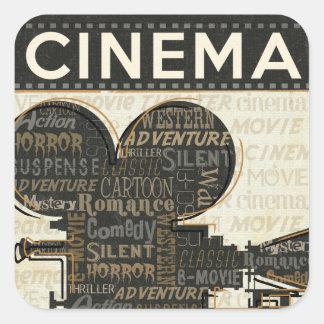 Cámara de película del vintage pegatina cuadradas personalizadas