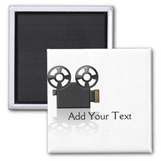 Cámara de película en negro y oro en blanco imán cuadrado