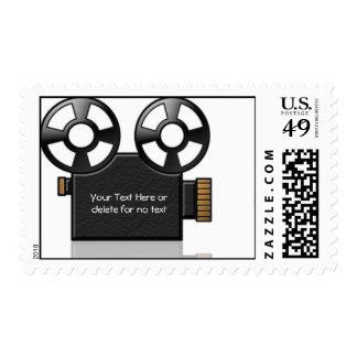 Cámara de película en negro y oro en el fondo blan