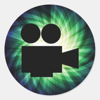 Cámara de película fresca; Película video Pegatina Redonda