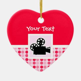 Cámara de película linda adorno de cerámica en forma de corazón