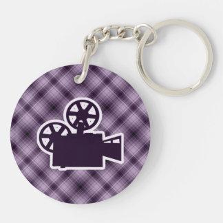 Cámara de película púrpura llavero